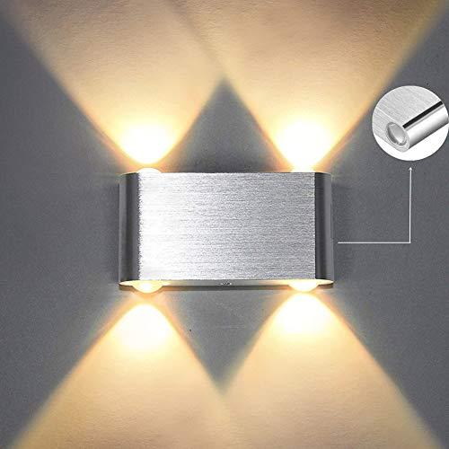 Louvra 4W LED Wandleuchte Modern Wandlampe Innen Wandbeleuchtung Nachtlicht Up Down aus Aluminium für Wohnzimmer Schlafzimmer Treppenhaus Flur Nachttisch (Kaltweiß/Warmweiß)