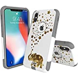 Unnito Design Commuter Case Compatible with Apple iPhone Xr (2018) – Soft and Hard Case Designed for Apple iPhone Xr Case White - Happy Glass Elephant