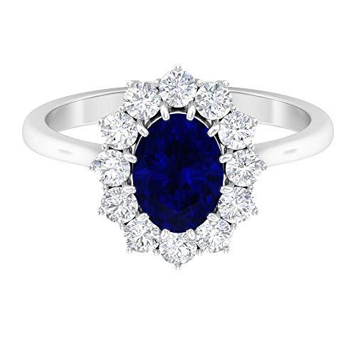 Rosec Jewels 14 quilates oro blanco ovalada round-brilliant-shape H-I Blue Diamond Zafiro azul creado en laboratorio.