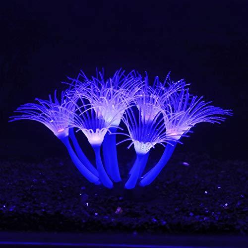 BINANO Sonnenblumenkoralle Weiches Kieselgel bewegt Sich natürlich mit dem Wasserfluss, Aquariumdekorationen leuchten im Dunkeln, leuchtende Korallenornamente für Aquariumdekorationen(Blau)