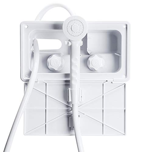 AOSGYA White Outdoor Shower Kit RV Exterior Shower Box Kit Includes Shower Faucet, Shower Head with Pause Switch and 59 Hose for RVs, Fifth Wheels, Motor Homes, Travel Trailers, Campers, Boats