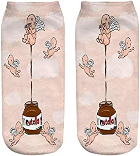 NANAYOUPIN, Calcetines 5 Pares de impresión 3D un bocado Mantequilla de maní pequeño ángel patrón Lindo Rosa niño niña Calcetines de algodón cómodos Calcetines Casuales Mujer 2