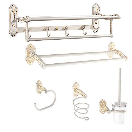 household items Toallero Colgante Plegable para el hogar, Kit de Soporte para Accesorios de baño, Juego de toallero para baño, Juego de 5 Piezas