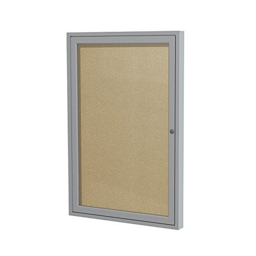"""Ghent 3""""x2"""" 1-Door Outdoor Enclosed Vinyl Bulletin Board, Shatter Resistant, with Lock, Satin Aluminum Frame - Caramel (PA132VX-31 Z11640), Made in the USA"""