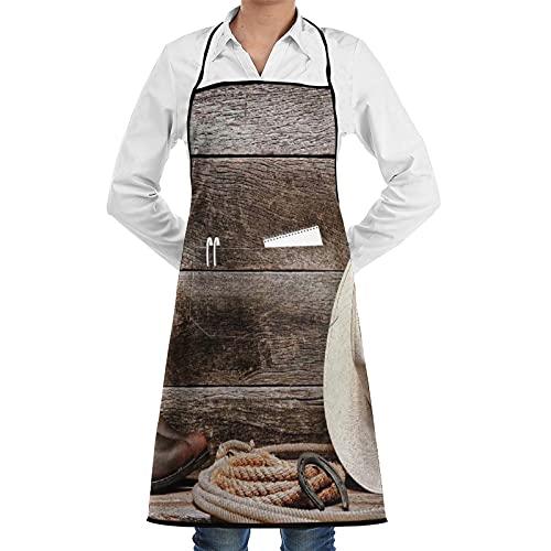 ASNIVI Delantal de cocina,Decoración occidental Sombrero de vaquero de paja blanca de rodeo del oeste americano con botas de cuero Lariat en madera ,Delantales para cocina casera, cocina de