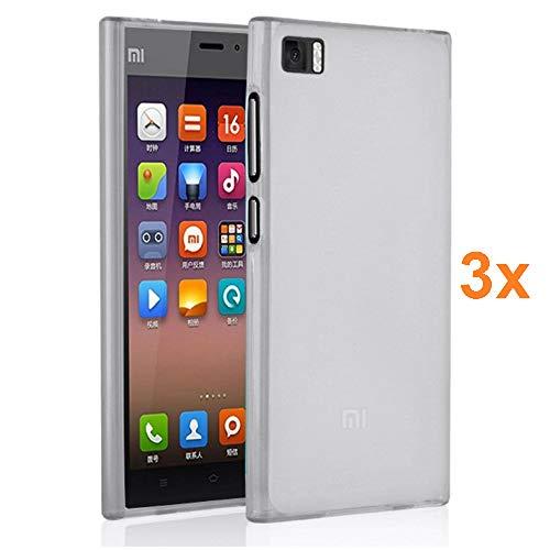 REY Pack 3X Cover in Gel TPU Trasparente per XIAOMI M3 Mi3, Ultra Sottile 0,33 mm, Morbido Flessibile, Custodia Silicone