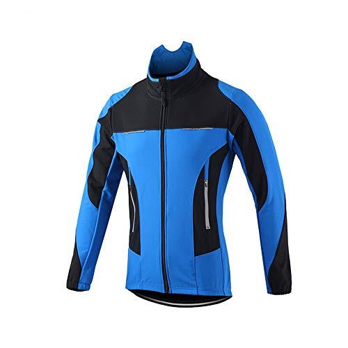 DAPAIZI Chaqueta De Ciclismo Hombre Invierno Forro Térmico Cómodo De Lana Cortaviento para Invierno Otoño. (Azul,M)