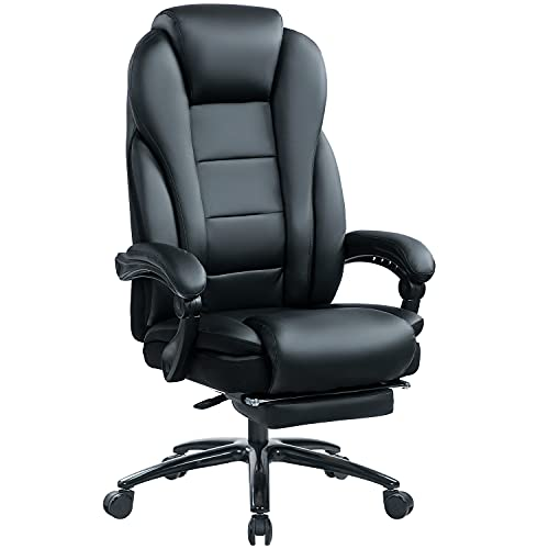 KCREAM Ergonomischer Chefsessel, Leder Bürostuhl mit 180 KG Belastbarkeit, Reclining Office Stuhl...