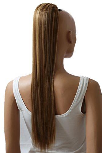 PRETTYSHOP 65cm Haarteil Zopf Pferdeschwanz Haarverlängerung Glatt Braun Blond Mix PH612