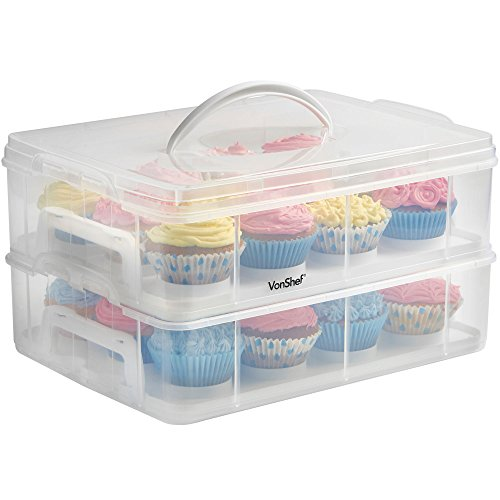 VonShef Snap and Stack Cupcake Storage Carrier 2 Tier - Store up to 24...