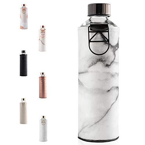 EQUA Glasflasche Mismatch mit Metallgriff, für Erwachsene, Unisex, Grau/weiß, 750 ml