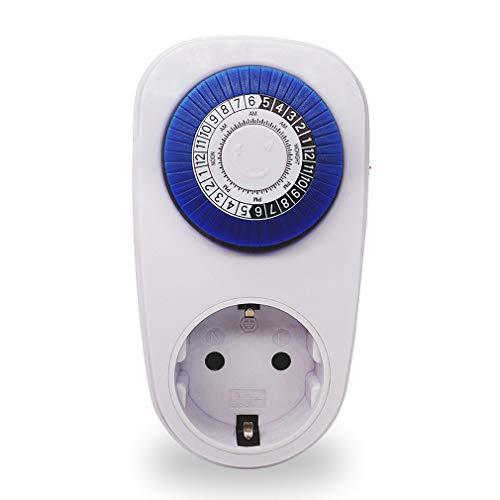Enchufe de temporizador mecánico, enchufe de temporizador mecánico de 24 horas, enchufe de interruptor de cuenta regresiva inteligente, interruptor de enchufe mecánico de 15 minutos a 24 horas