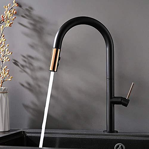 Uittrekbare keukenkraan met hoge greep, modern, commercieel, mengkraan met één hendel voor gootsteen van koper met inschuifbare sproeikop in zwart Zwart