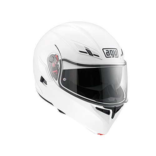 Agv Compact St Agv E2205 Solid Plk Casco Moto, Unisex - Adulto, Bianco, L