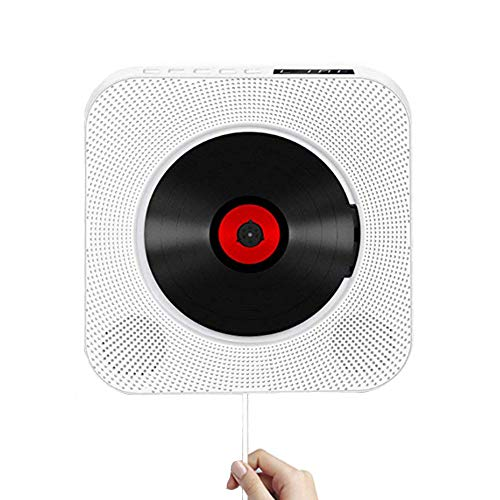 Portable CD Player with Bluetooth,Wall Mountable Built-in HiFi Speakers, Home Audio Boombox with Remote Control FM Radio USB MP3 3.5mm Headphone Jack AUX Input/Output with Pulling-Switch