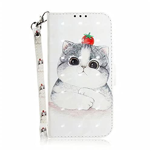JJSMIDa Capa carteira para Asus Zenfone 5z ZS620KL/Zenfone 5 ZE620KL estilo animal flip capa carteira com compartimentos para cartão e cordão de mão (gato branco)