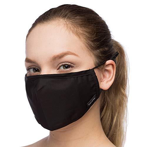 Anti Pollution 3 Layers mouth Cover- Adjustable Ear Loops Dust Cotton (Extra 2 Filters) Washable and Reusable - Replacement Filter Pocket - with Nose Bridge - For Men and Women