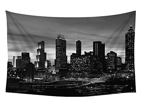 NA Atlanta Skyline At Sunset Georgia - Wall Tapestry Art For Home Decor Wall Hanging Tapestry 60x80 Inches Black and White