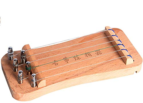 N /A Guzheng, Mini Guzheng, Guzheng Finger Trainer mit Zubehör, Protable, Größe: 21 × 9,5 × 1,8 cm, 6strings, Geeignet for Anfänger, Erwachsene, Kinder