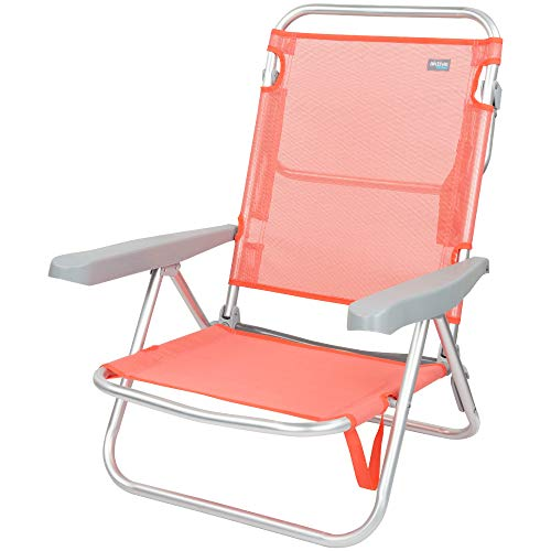 Aktive 62627 - Silla de playa plegable, reclinable, 5 posiciones, con asa de transporte, 61x48x80 cm, altura 21 cm, coral