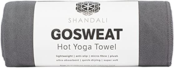 Hot Yoga Towel - Suede - 100% Microfiber, Super Absorbent, Bikram Yoga Mat Towel - Exercise, Fitness, Pilates, and Yoga Gear - Gray 26.5