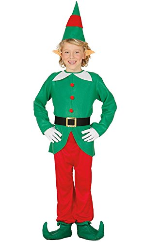 Disfraz de Elfo verde y rojo para nio