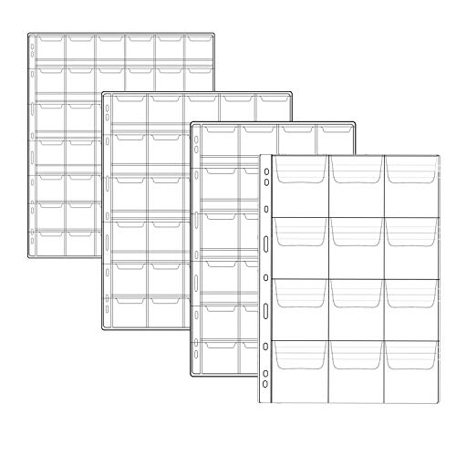 M-Aimee 10 Sheets Coin Pocket Page Protectors, 4 Size Coin Collection Holders Storage with 12, 20, 30 and 42 Pocket Pages, Coin Collecting Supplies