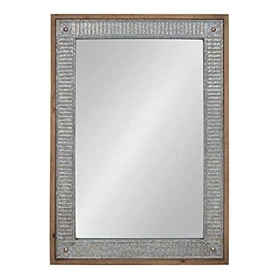 Kate and Laurel Deely Wood and Metal Framed Wall Mirror, 27x39, Rustic Brown