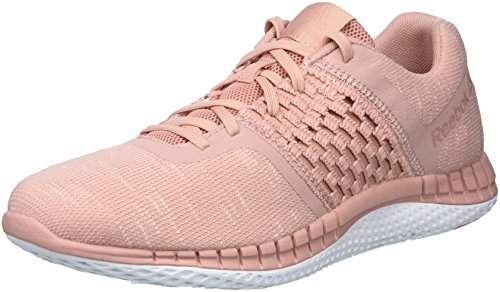 Reebok Women's Print Run DIST Sneaker, Chalk Pink/Porcelain, 12 M US