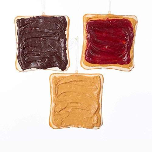 Kurt Adler Sliced Toast Ornament  3 Assorted: Peanut Butter Peanut Butter and Jelly and Chocolate Spread