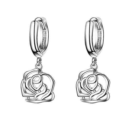 Placcato in argento Sterling 925con ciondolo a forma di fiore rosa nodo celtico, lungo nappa orecchini a cerchio