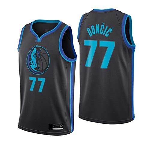 Männer Basketball Jersey, Dallas Mavericks # 77 Luka Doncic NBA-Trikots Lose Und Atmungsaktive T-Shirts Casual Sportweste Tops,Schwarz,XL(180~185CM)