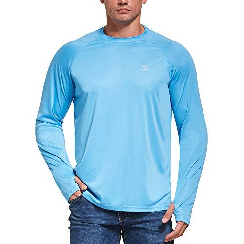 Ogeenier Camisetas de Manga Larga Hombre con Protección Solar UV UPF 50+ con Pulgar Agujeros