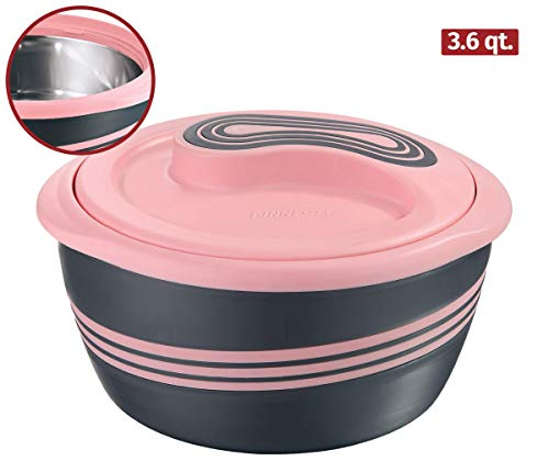 Pinnacle Insulated Casserole Dish with Lid 3 pc. Set 2.6/1.5/1 qt. Hot Pot Food Warmer/Cooler –Thermal Soup/Salad Serving Bowl- Stainless Steel Hot Food Container–Best Gift Set for Moms –Holidays