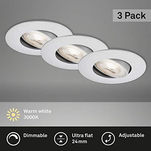 Briloner Leuchten - LED Einbauleuchten, 3er Set, Deckenlampen dimmbar, LED-Modul schwenkbar, je 5 Watt, je 460 Lumen, 3.000 Kelvin, IP23, Chrom-Matt, 90x24mm (DxH), 7048-034
