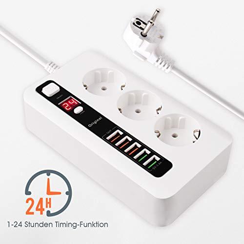 Regleta de 3 enchufes con 5 puertos USB con función de temporizador de 1 – 24 horas, enchufe ignífugo, protección contra sobretensiones para smartphones y tablets (cable de 2 m)