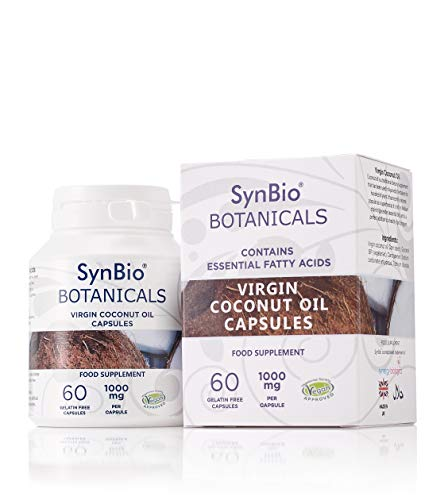 SynBio Botanicals - Virgin Coconut Oil Capsules 1000mg | Vegan Certified | Made in UK | | Rich in MCT | Cold-Pressed | Meal Replacement | Gluten Free | Salt Free | Nut Free | Halal