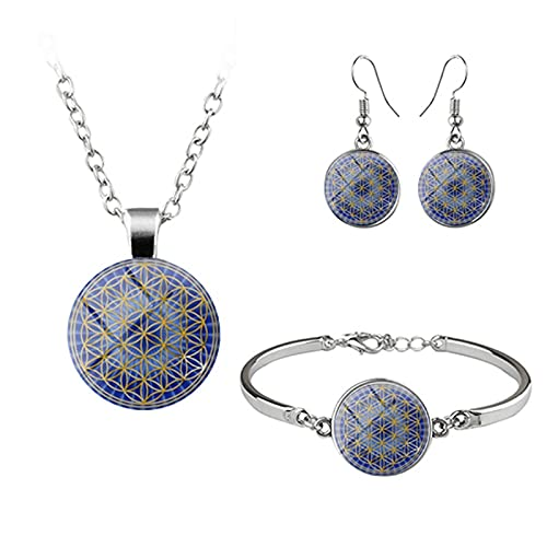 HMANE Conjuntos de Joyas de Flores Elegantes, Azul Claro, Rosa, púrpura, Cristal, cabujón, Collar de Budismo, Pendientes, brazaletes