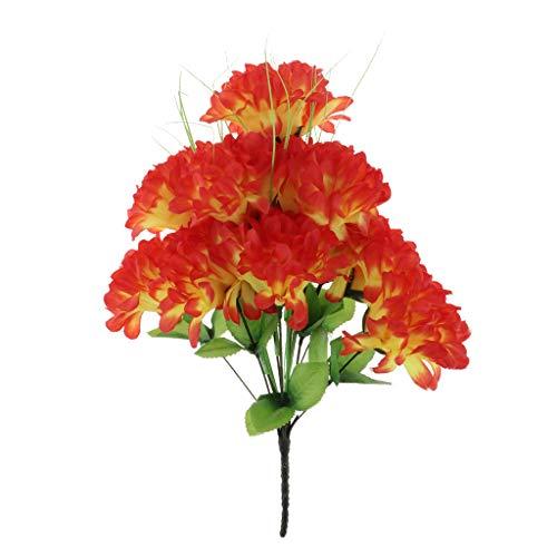 D DOLITY Künstliche Grabblumen Grabschmuck Grabgesteck Allerheiligen für Trauer und Gedenken zum Freunde und Verwandter - rot