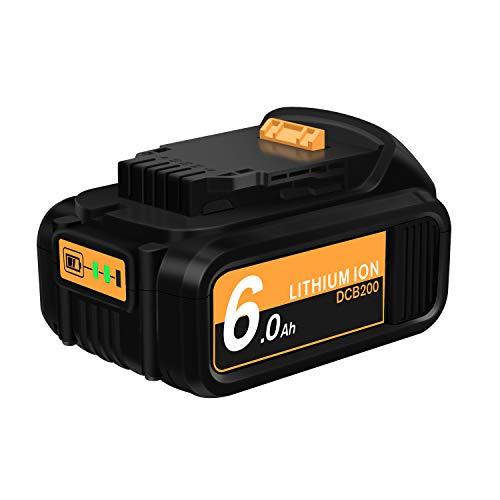 20V 6.0Ah DCB205 DCB204 Replacement Battery Compatible with Dewalt 20V Max XR DCB200 DCB205-2 DCB206-2 DCB206 DCB207 DCB180 DCD985B DCD771C2 DCS355D1 DCD/DCF/DCG Series Power Tool Battery