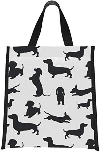 Bolsa de almuerzo con aislamiento, negro, perros, Dachshund, perro, sombra, bolsa de almuerzo, enfriador, hombres, lonchera, reutilizable, plegable, mantiene la comida caliente / fría para m
