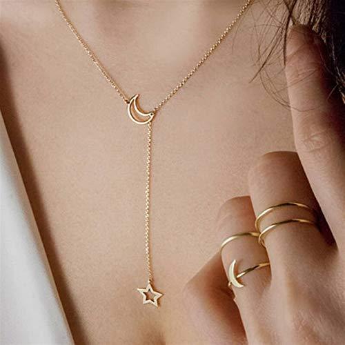 Collar de estrella del corazón Mujer colgante colgante de monedas de cadena corta *1* (Metal Color : Gold moon star)