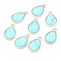 Blue Turquoise Wholesale Water Drop Shape Natural Stone Rosequartz/tiger Eyes Pendant Diy For Necklace Or Jewelry Making 16 Color