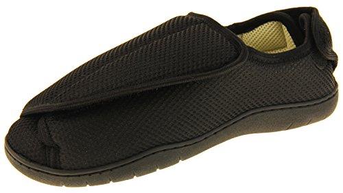Zapatillas ortopédicas Footwear Studio con velcro ajustable para hombres, color Negro, talla 43/44 EU