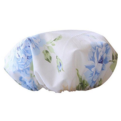 Doubles couches Baignade Hat Imperméable Douche Cap Bath Cap impression Bleu