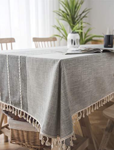 Lanqinglv Quaste Tischdecke 140x220 Abwaschbar Baumwolle und Leinen Tischtuch Grau Tischdecke Rechteck Couchtisch