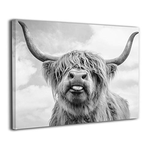 Canvas Print Wall Art Black and White Freedom Highland Cow Pictures Painting for Living