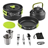 Aitsite Camping Cookware Kit Outdoor Aluminum Lightweight Camping Pot Pan Cooking Set for Camping Hiking