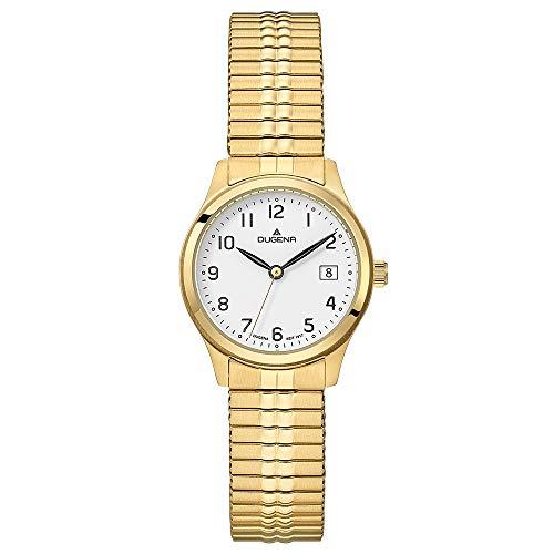DUGENA Damen-Armbanduhr Bari, Quarz, Edelstahlgehäuse, Mineralglas, Edelstahl-Zugband, 5 bar (Gold)