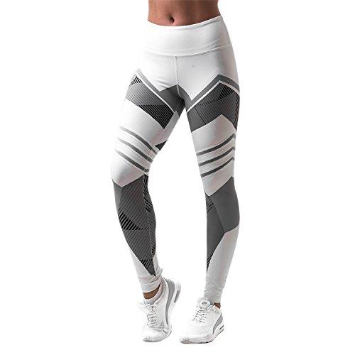 Libertepe Legging Pantalon Sport Femme Yoga Fitness Gym Pilates pour Randonnée Camping (FR38-40(tag sizeL), Blanc)